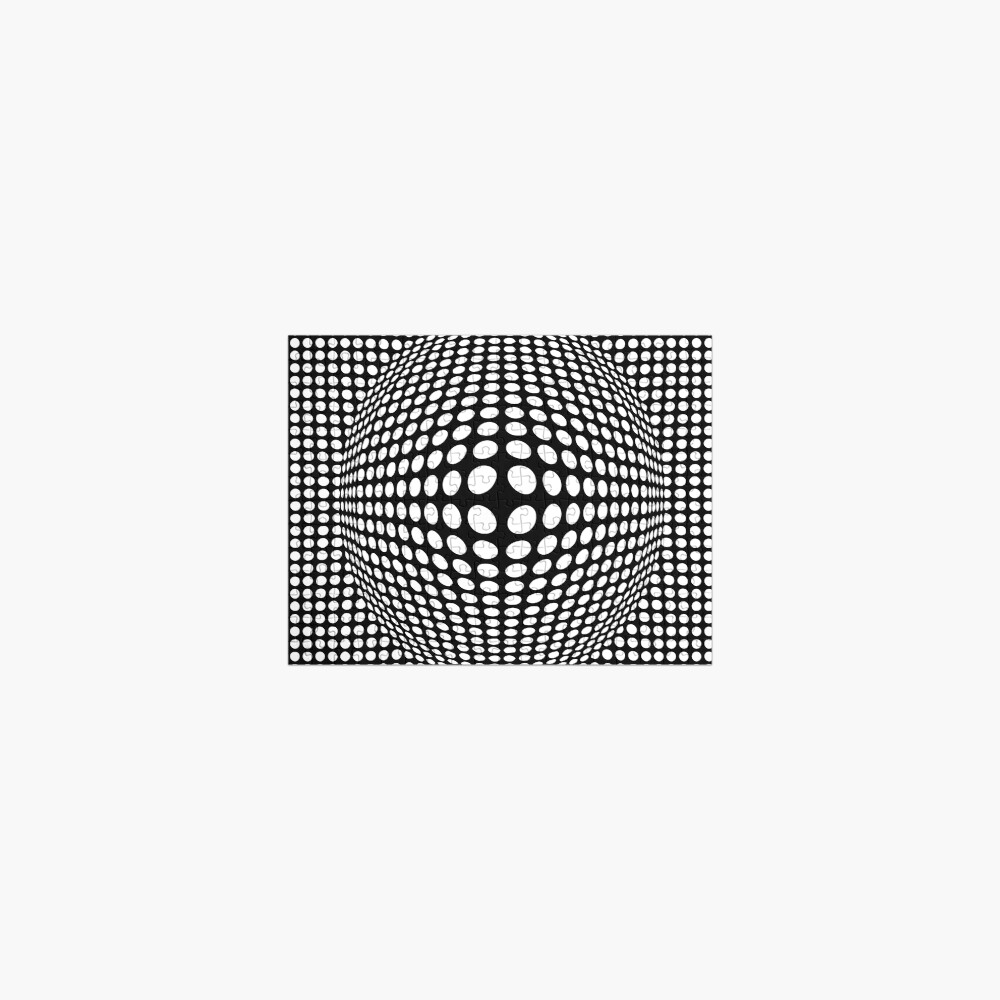 Black And White Victor Vasarely Style Optical Illusion Jigsaw Puzzle