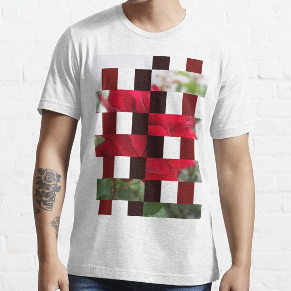 Red Rose Edges Art Rectangles 15 Essential T-Shirt