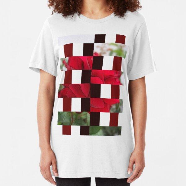 Red Rose Edges Art Rectangles 15 Slim Fit T-Shirt