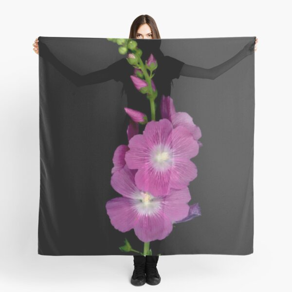 Florium pink flowers on black background Scarf