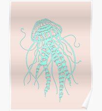 Cute Pastel Jellyfish  Poster
