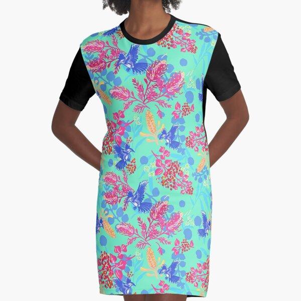 Happy Australian Plants and wattle bird Graphic T-Shirt Dress