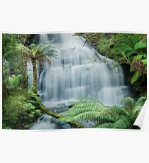 Triplet Falls with Surreal Perspective Poster