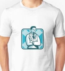 Medical Doctor Physician Stethoscope Standing Retro T-Shirt