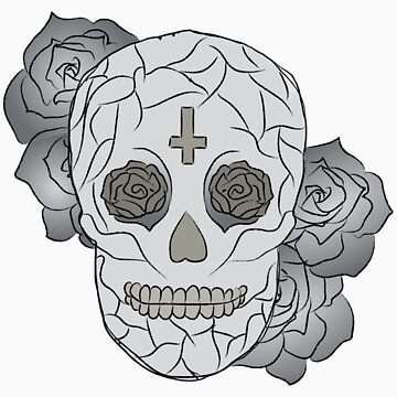Sugar Skull (Smiling/colored) by elainejoven