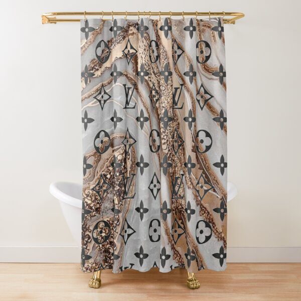 Louis V White and gold marble Shower Curtain