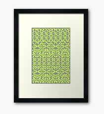 Ikat Lace in Lime Green on Grey Framed Print