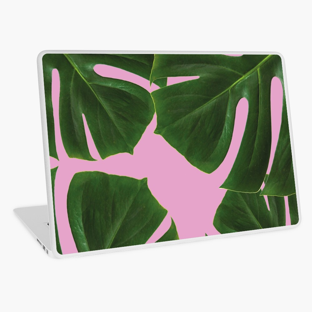 Copy of Graphic green palm leaves, pink background Laptop Skin