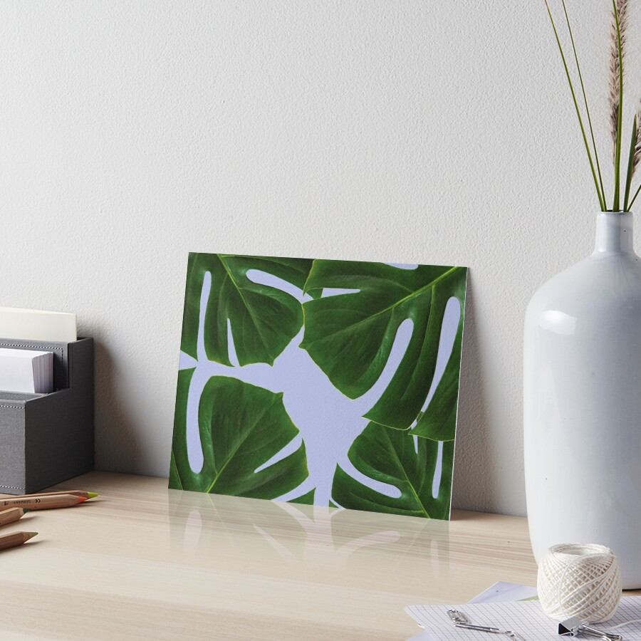 Copy of Copy of Graphic green palm leaves, blue background Art Board Print