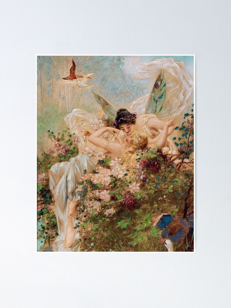 Alternate view of Two Fairies Embracing in a Landscape with a Swan // Hans Zatzka Poster