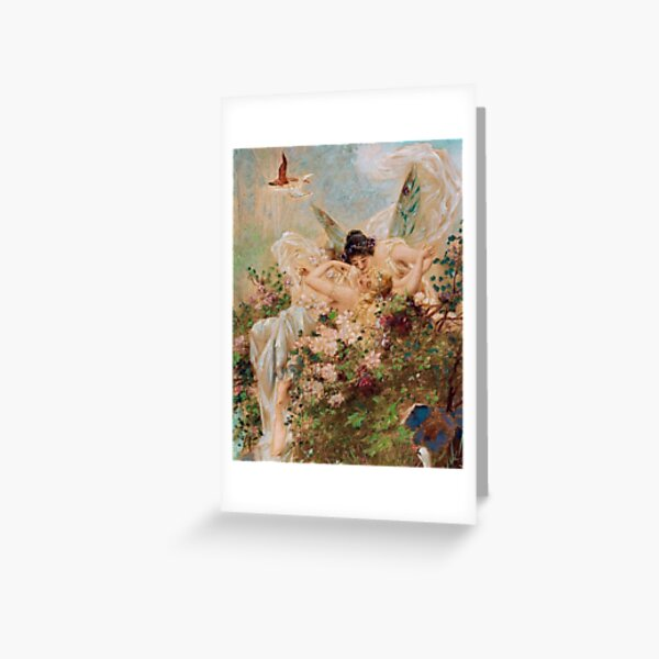 Two Fairies Embracing in a Landscape with a Swan // Hans Zatzka Greeting Card