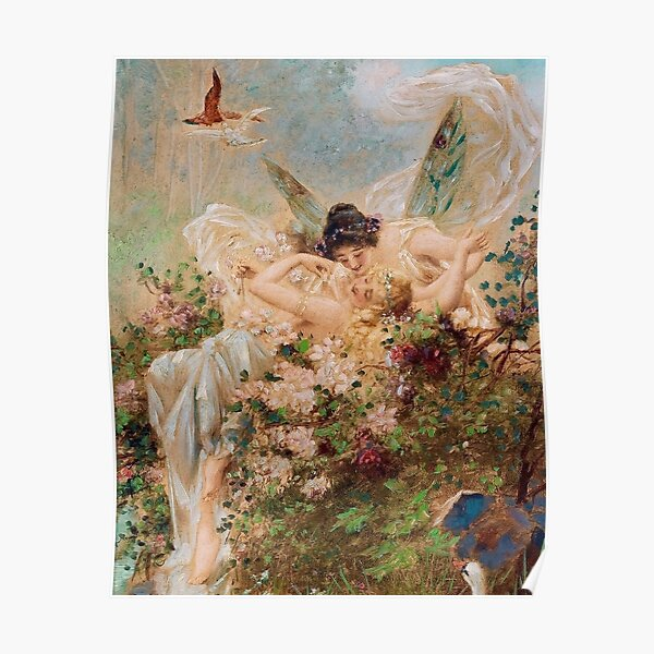 Two Fairies Embracing in a Landscape with a Swan // Hans Zatzka Poster