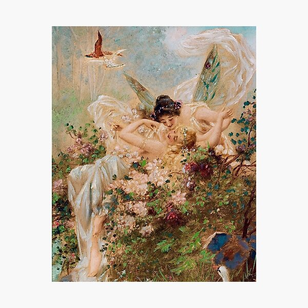 Two Fairies Embracing in a Landscape with a Swan // Hans Zatzka Photographic Print