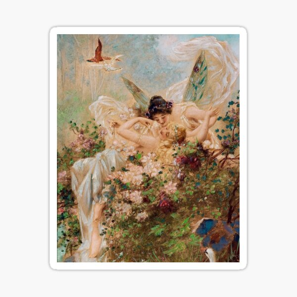 Two Fairies Embracing in a Landscape with a Swan // Hans Zatzka Sticker