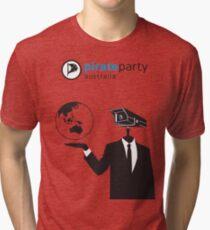 Pirate Party Australia : Global Surveillance Shirt Tri-blend T-Shirt