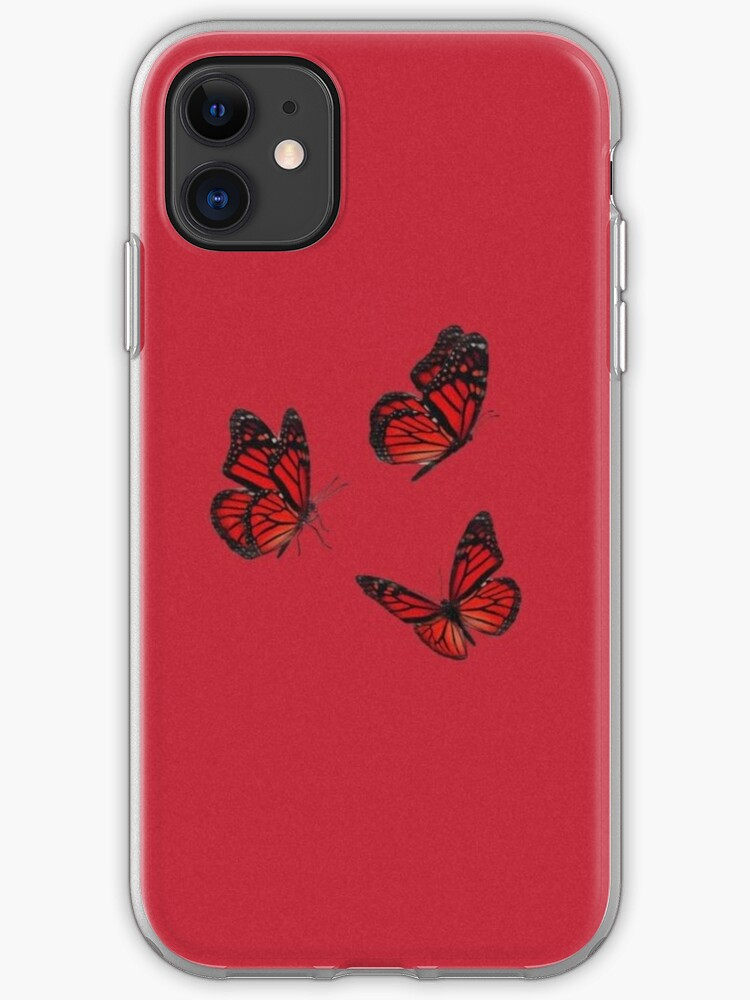 Aesthetic Red Butterfly Iphone Case Cover By Pearlcases Redbubble