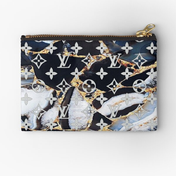 Louis V black white and gold marble Zipper Pouch