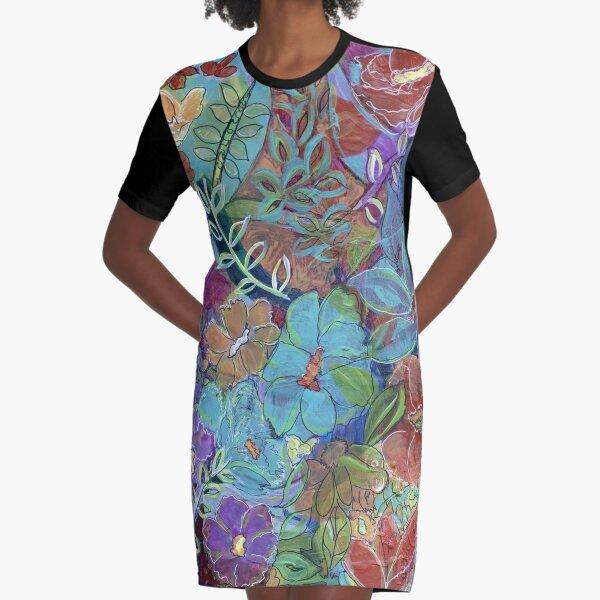 Garden Doodle Mixed Media Art Graphic T-Shirt Dress