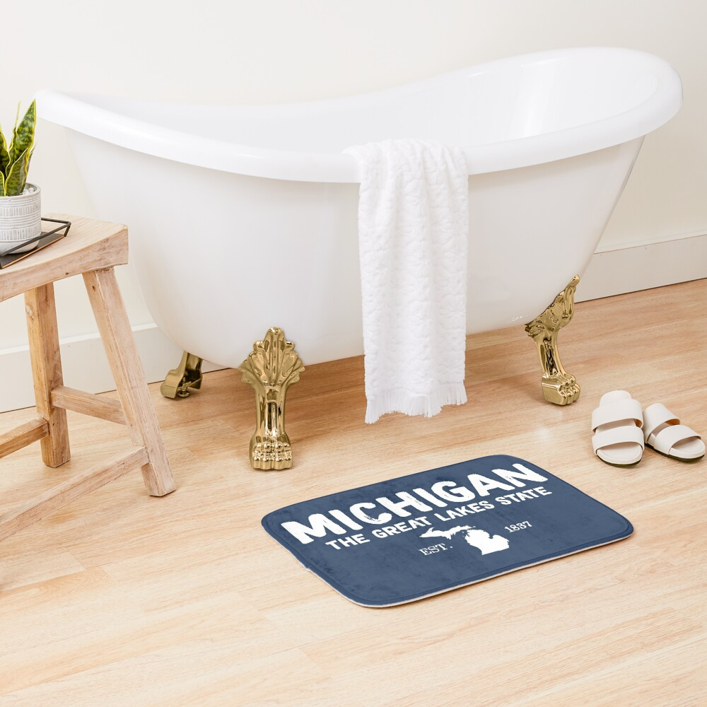 Michigan Is The Great Lakes State Bath Mat