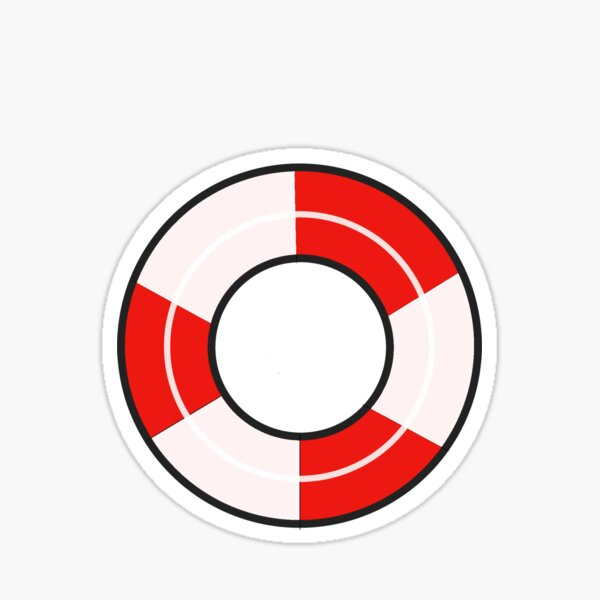 Red and pink circle floatie design Sticker