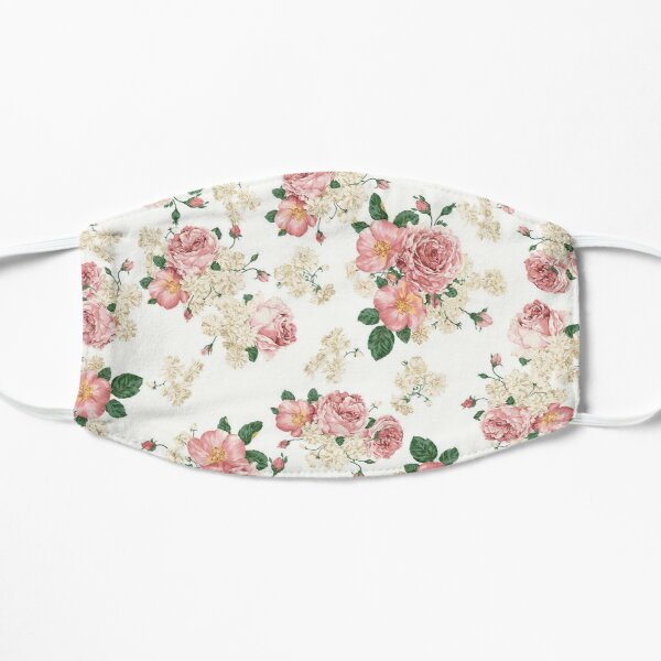 Floral pattern, Flowers and green leafs pattern Flat Mask