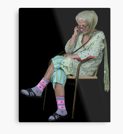 Old Lady in Chair, view 2 Metal Print