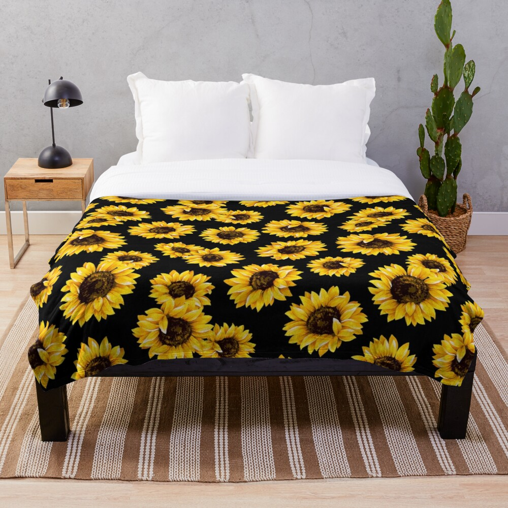 Sun flowers floral pattern - yellow flower Throw Blanket