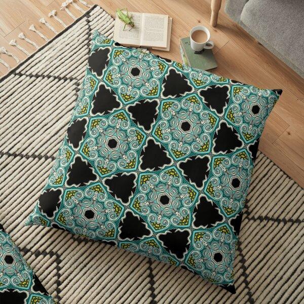 Green Black Boho Pattern Floor Pillow