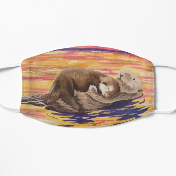 Otter And Baby Sunset Painting Art Gift, Painting Flat Mask