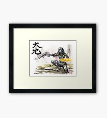 Tali from Mass Effect Sumie style with calligraphy Great Land Framed Print
