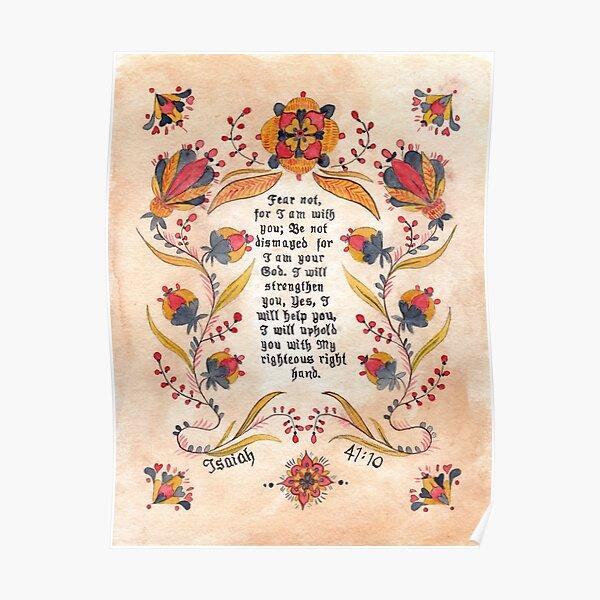 Fraktur: Bible Verse- Isaiah 41:10 Poster