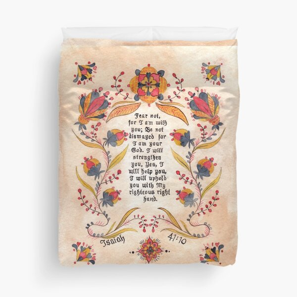 Fraktur: Bible Verse- Isaiah 41:10 Duvet Cover