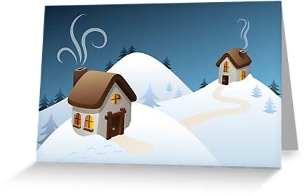Winter cabin scene by emberstudio