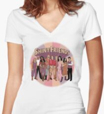 Shiny Friends Women's Fitted V-Neck T-Shirt