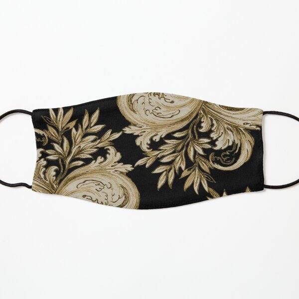 Gold on Black Swirl Kids Mask