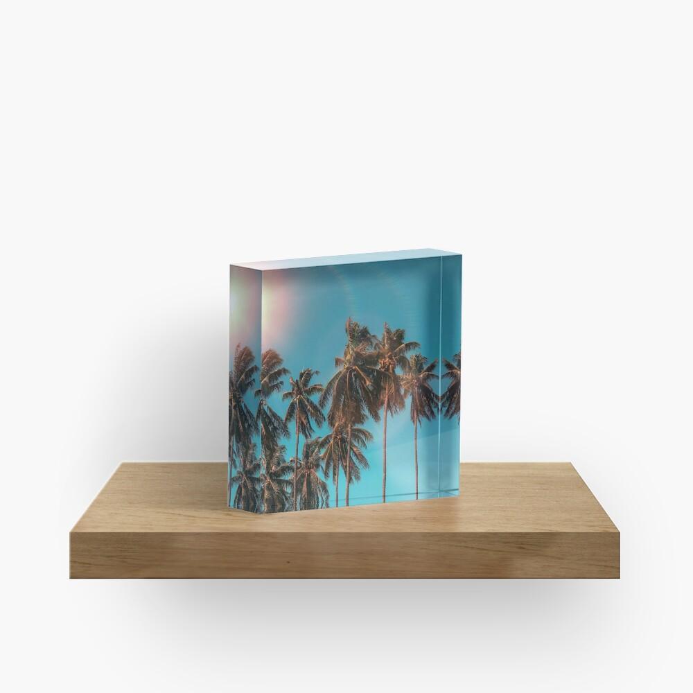 Palmtrees aqua Acrylic Block