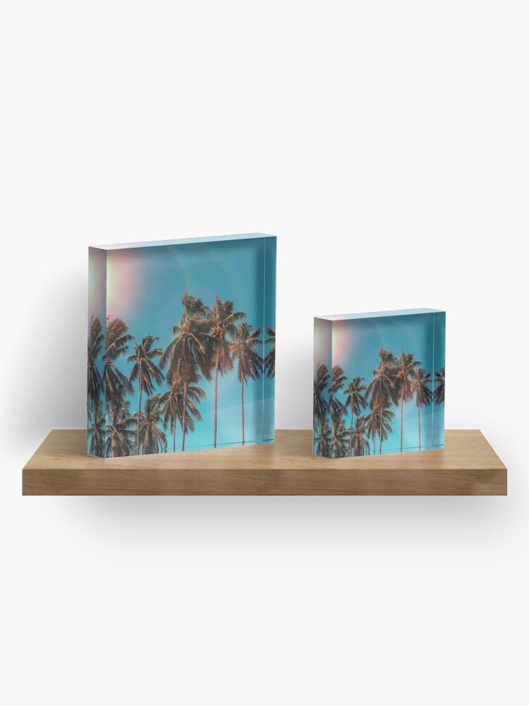Alternate view of Palmtrees aqua Acrylic Block