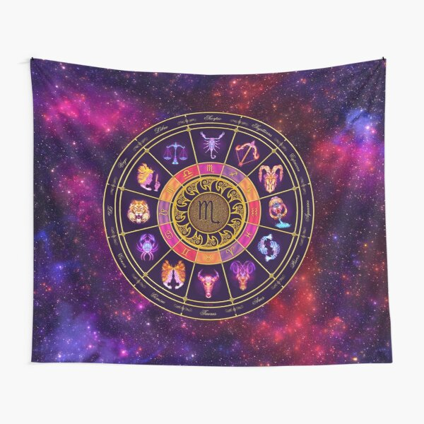 Scorpio Zodiac Lightburst - Circle Tapestry