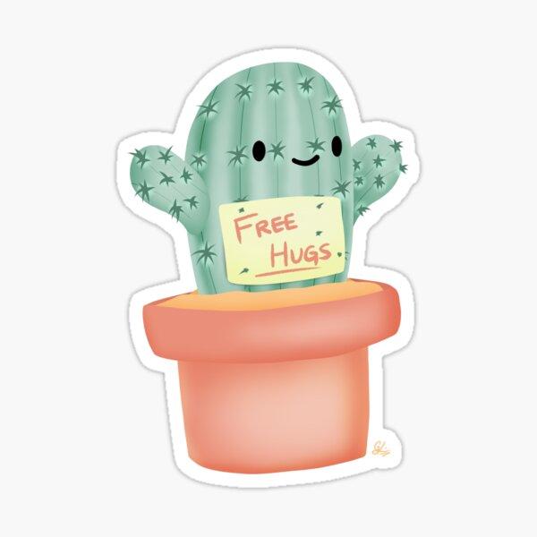 Free Hug Cactus Sticker
