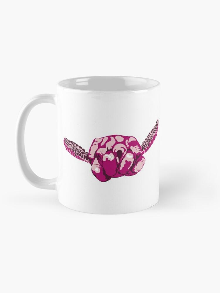 Alternate view of Turtle Hand Signal - Pink Mug