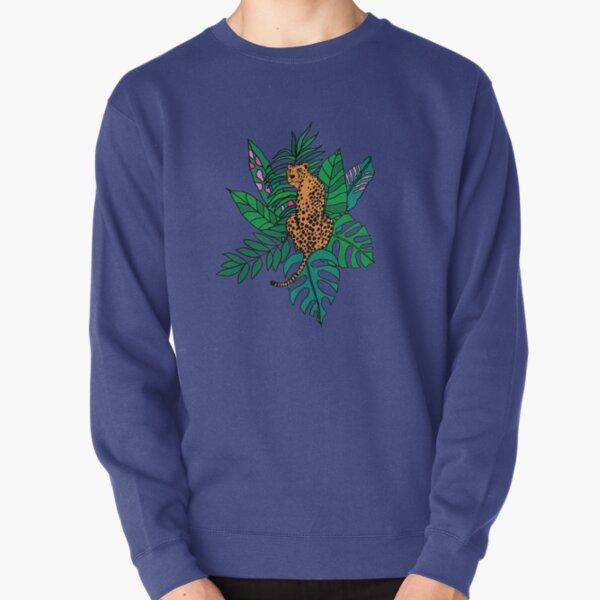Wild cat/ leopard/cheetah in tropical leaves Pullover Sweatshirt