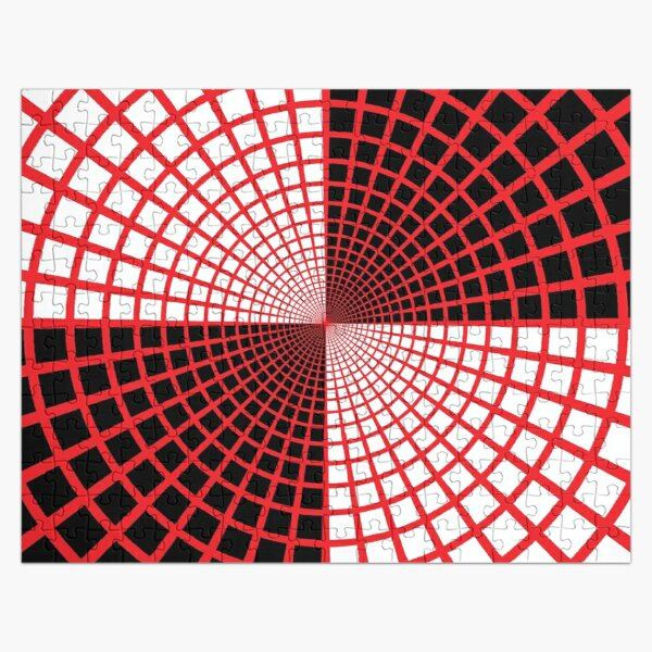 Red Circles and Rays on White Background - Astralasia Wind on Water Jigsaw Puzzle