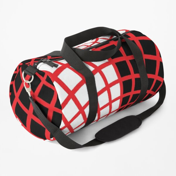 Red Circles and Rays on White Background - Astralasia Wind on Water Duffle Bag