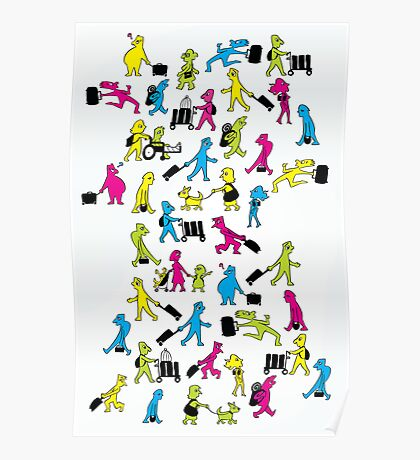 People with Suitcases Poster