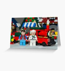 Doc and Marty and a Xmas Train Greeting Card