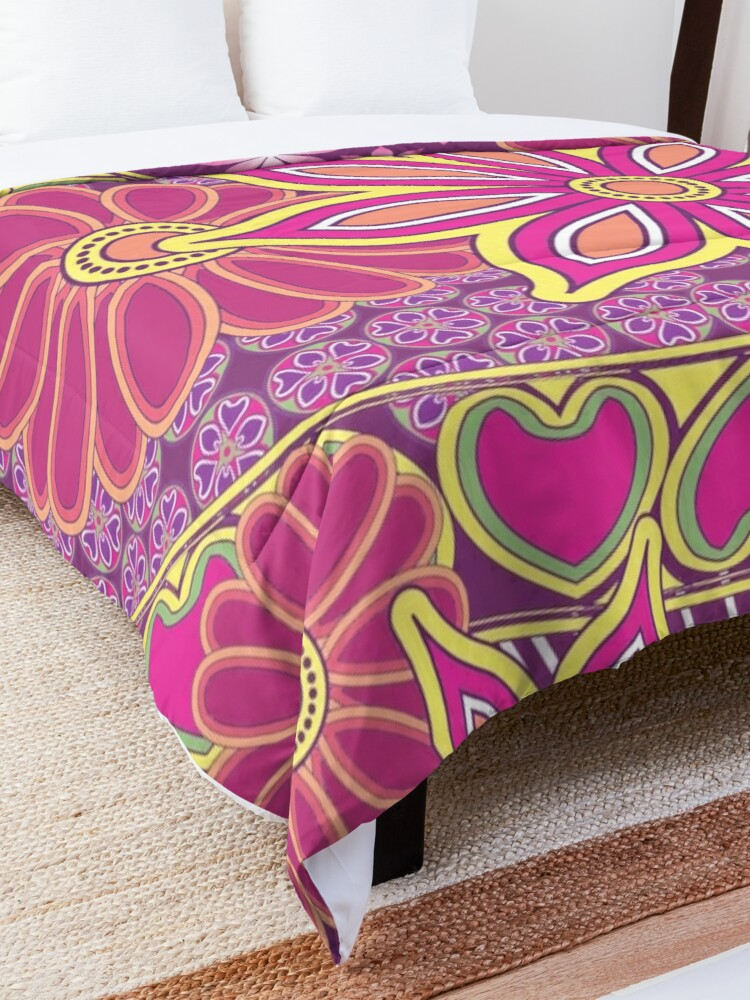 Alternate view of Glam Gypsy Bohemian Floral Print Comforter
