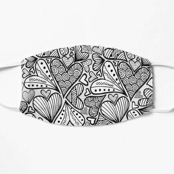 Zentangle Inspired Art Heart Flat Mask
