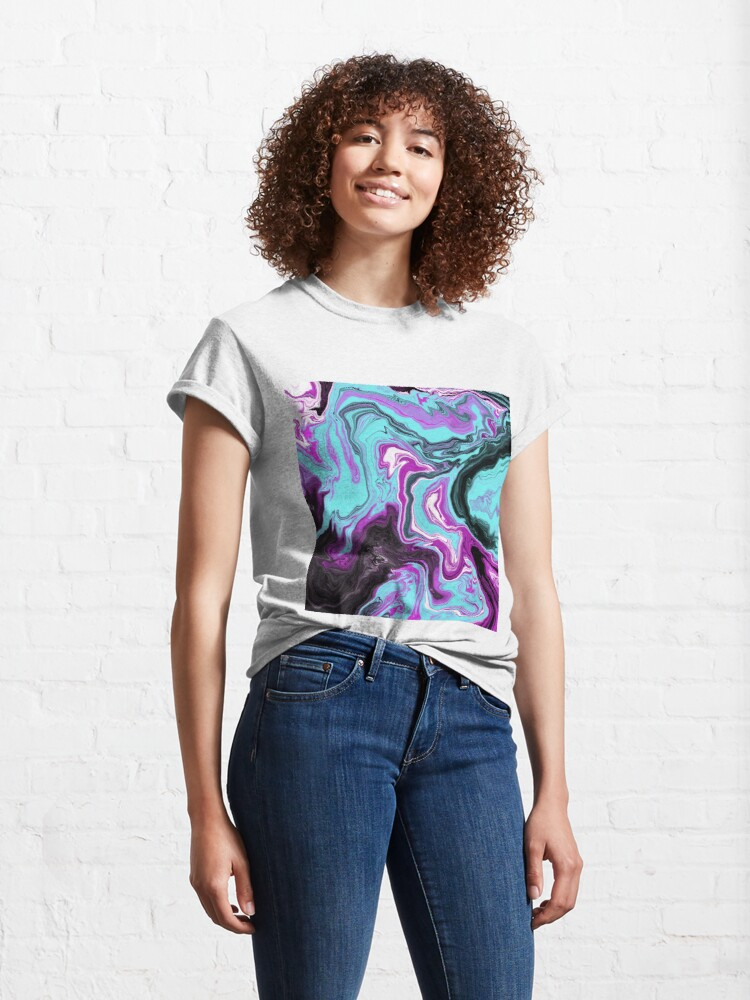 Alternate view of Magenta / Cyan Acrylic Pour Painting Classic T-Shirt