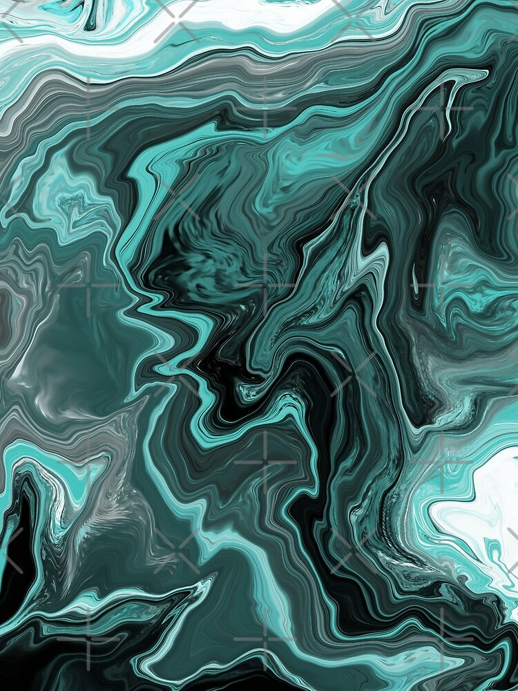 Teal / Turquoise Acrylic Pour Painting by abstractnudes