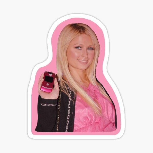 Paris Hilton with a Pink Motorola Razr Sticker